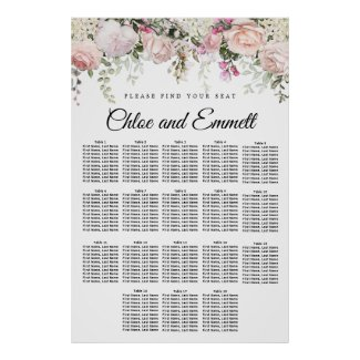 Large Pink Floral 18-Table Wedding Seating Chart