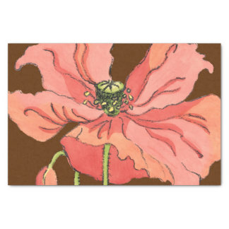 """Large Pink Flower with Deep Red Background 10"""" X 15"""" Tissue Paper"""