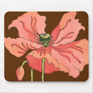 Large Pink Flower with Deep Red Background Mouse Pad