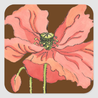 Large Pink Flower with Deep Red Background Square Sticker
