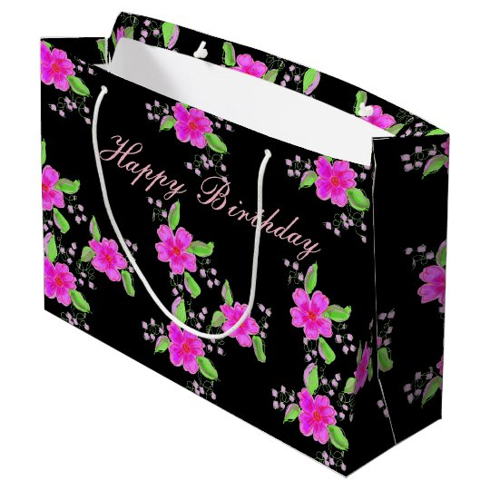 Large Pink Flowered Black Birthday Gift Bag