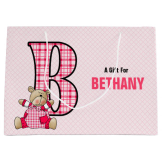 LARGE Pink Letter B for Girls with Teddy Bear Large Gift Bag