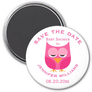 Large Pink Owl Baby Shower Save The Date Magnet