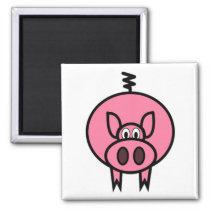 Large Pink Pig Magnet