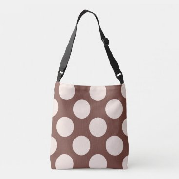 Beach Themed Large pink polka dots design on brown crossbody bag