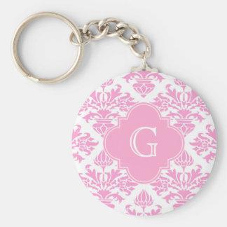 Large Pink White Floral Damask Pink Monogram Label Keychains