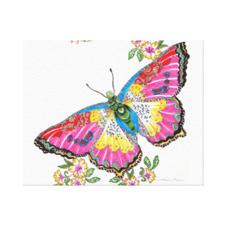 LARGE PINK YELLOW AND RED BUTTERFLY CANVAS PRINT
