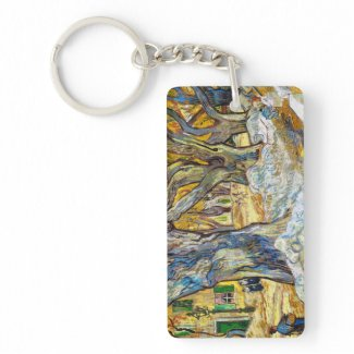Large Plane Trees by Vincent Van Gogh Double-Sided Rectangular Acrylic Keychain
