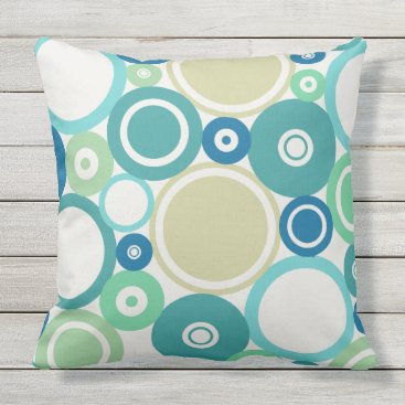 Beach Themed Large Polka Dots Beach theme Outdoor Pillow