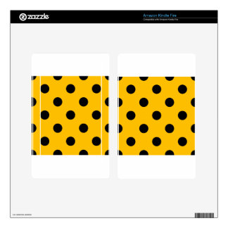 Large Polka Dots - Black on Amber Kindle Fire Decal