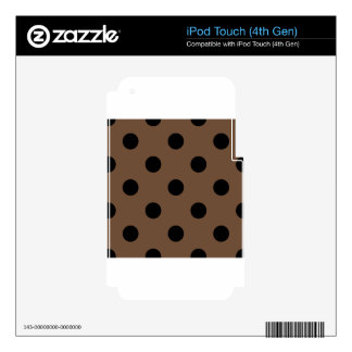 Large Polka Dots - Black on Coffee Decals For iPod Touch 4G