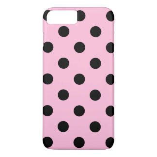 Large Polka Dots - Black on Cotton Candy iPhone 7 Plus Case