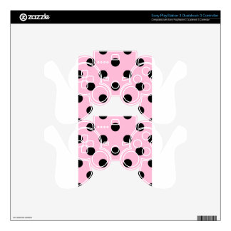 Large Polka Dots - Black on Cotton Candy PS3 Controller Decals