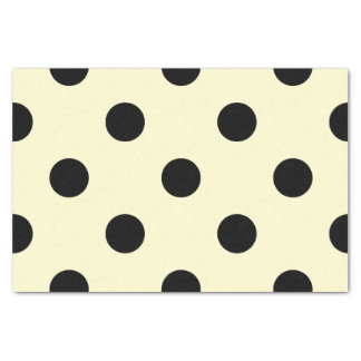 Large Polka Dots - Black on Cream Tissue Paper