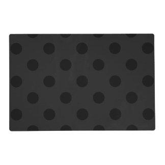 Large Polka Dots - Black on Dark Gray Placemat