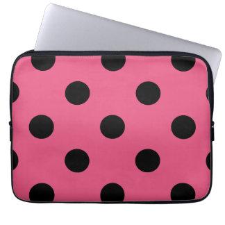 Large Polka Dots - Black on Dark Pink Computer Sleeve