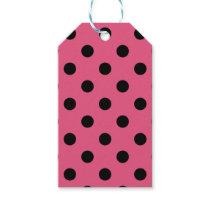 Large Polka Dots - Black on Dark Pink Gift Tags