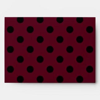 Large Polka Dots - Black on Dark Scarlet Envelope