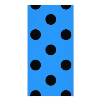Large Polka Dots - Black on Dodger Blue Card