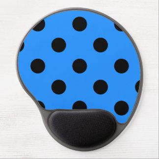 Large Polka Dots - Black on Dodger Blue Gel Mouse Pad