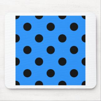 Large Polka Dots - Black on Dodger Blue Mouse Pad