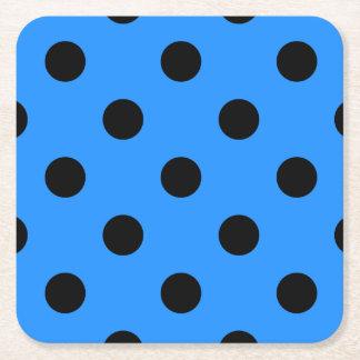 Large Polka Dots - Black on Dodger Blue Square Paper Coaster
