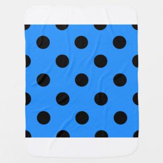 Large Polka Dots - Black on Dodger Blue Stroller Blanket