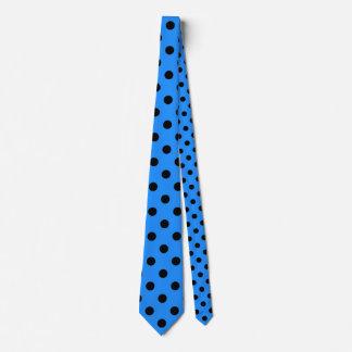Large Polka Dots - Black on Dodger Blue Tie