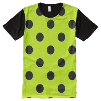 Large Polka Dots - Black on Fluorescent Yellow All-Over-Print T-Shirt