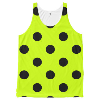 Large Polka Dots - Black on Fluorescent Yellow All-Over-Print Tank Top