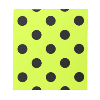 Large Polka Dots - Black on Fluorescent Yellow Notepad