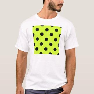Large Polka Dots - Black on Fluorescent Yellow T-Shirt