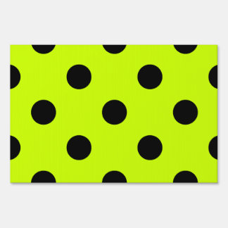 Large Polka Dots - Black on Fluorescent Yellow Yard Sign