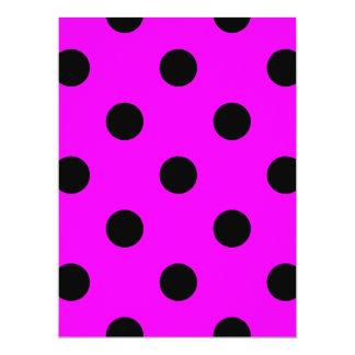 Large Polka Dots - Black on Fuchsia Card