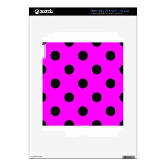 Large Polka Dots - Black on Fuchsia Skin For iPad 3