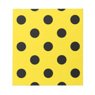 Large Polka Dots - Black on Golden Yellow Notepad