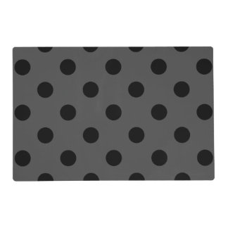 Large Polka Dots - Black on Gray Placemat