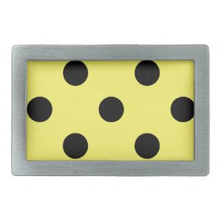 Large Polka Dots - Black on Lemon Rectangular Belt Buckle