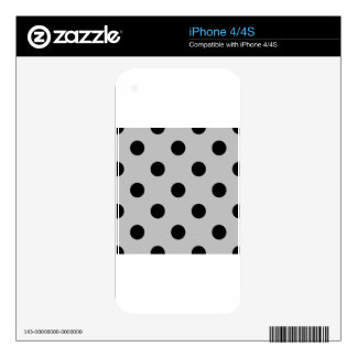 Large Polka Dots - Black on Light Gray iPhone 4 Decal