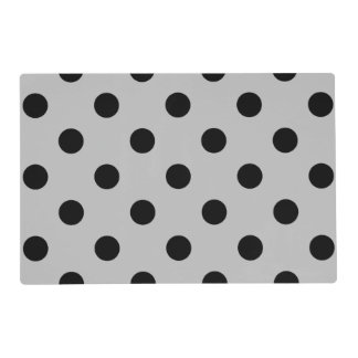 Large Polka Dots - Black on Light Gray Placemat