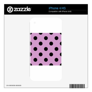 Large Polka Dots - Black on Light Medium Orchid iPhone 4S Skin