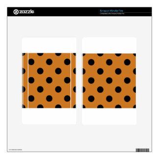 Large Polka Dots - Black on Ochre Kindle Fire Skins