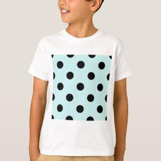 Large Polka Dots - Black on Pale Blue T-Shirt