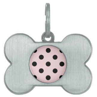 Large Polka Dots - Black on Pale Pink Pet ID Tag