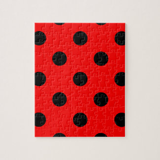 Large Polka Dots - Black on Red Jigsaw Puzzle
