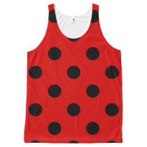 Large Polka Dots - Black on Rosso Corsa All-Over-Print Tank Top