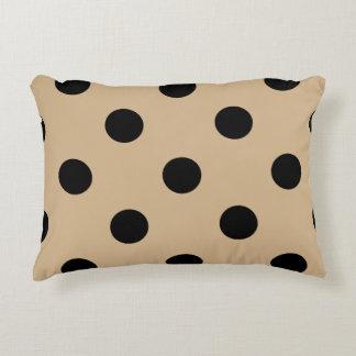 Large Polka Dots - Black on Tan Decorative Pillow