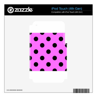Large Polka Dots - Black on Ultra Pink Skin For iPod Touch 4G