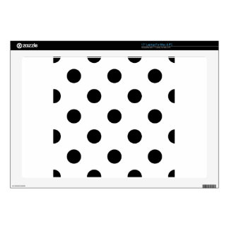 "Large Polka Dots - Black on White 17"" Laptop Skins"
