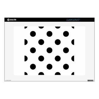 Large Polka Dots - Black on White Decals For Laptops